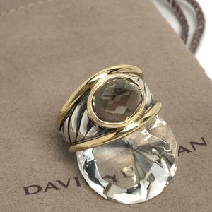David Yurman Smokey Topaz 925/18K Cable Ring